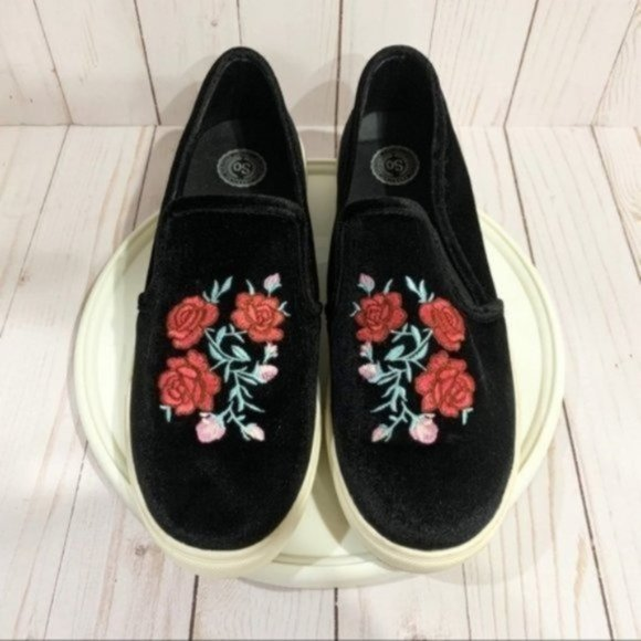 SO Funday slip-on shoes black floral 9.5M